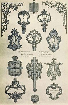Vintage Ephemera: French Rococo Decorative Keyholes, Skeleton Key Handles, etc., vintage printable