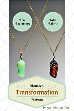 Monarch Transformation Pendants are unique, inspirational butterfly jewelry that celebrate the power of making positive life changes. The green chrysalis represents new beginnings, while the transparent monarch chrysalis represents a total rebirth. A butterfly gift idea filled with inspiration...