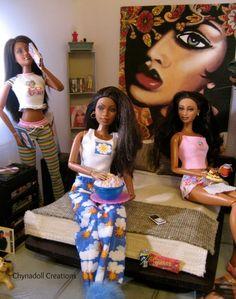 girlies night ~  lovee Barbie Life, Barbie World, Barbie Negra, Barbie Bedroom, Barbie Diorama, Poppy Parker, African American Dolls, Beautiful Barbie Dolls, Diva Dolls