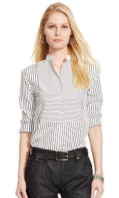 Striped Bib-Front Cotton Shirt