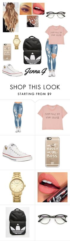 """Second Day of School"" by iamjennagarcia on Polyvore featuring Monki, Converse, Casetify, Topshop, Fiebiger and adidas"