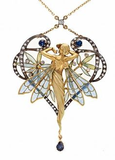 Magnificent. It's like stained glass but in pendant form : pendant with plique-à-jour enamel, sapphires and diamonds. Art Nouveau.
