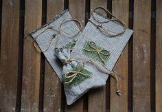 Set of 3 linen small gift bag. Eco bags for gift. Fabric bag.