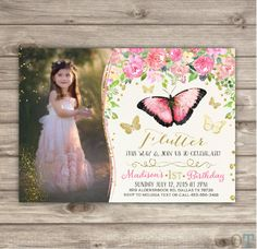 Butterfly Birthday Invitations Photo spring summer by cardmint