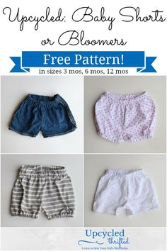 Feathers Flights {a creative, sewing blog}: Upcycled Baby Shorts and Bloomers: FREE Pattern!