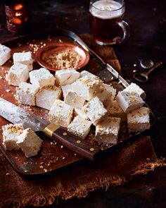 These hazelnut-topped marshmallows are light-as-air and incredibly moreish. Susan Boyle, of Two Sisters Brewing, uses a dark malty beer in her recipe as the bitterness works well to complement the sweetness.