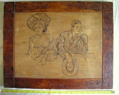 "Howard Chandler Christy Flemish Art Pyrography plaque ""Teasing,"" 1905, Moffat, Yard & Co."