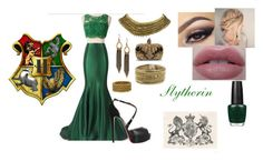 """Slytherin Pride"" by e-rahmani on Polyvore featuring Christian Louboutin, OPI, Panacea, Lucky Brand, Tiffany & Co., Zad and Alexander McQueen"