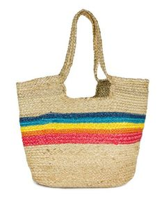 This Natural & Rainbow Stripe Woven Tote is perfect! #zulilyfinds Fringe Bags, Jewelry Tree, Beach Tote Bags, Leather Fringe, Large Tote, Jute, Straw Bag, Reusable Tote Bags, Product Launch