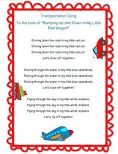Sing this cute song with your kiddos to help them remember different kinds of land, water and air transportation! :) I hope your class enjoys this song. Feedback is always much appreciated! ~Jessica Fun in Summer Crafts For Toddlers, Kids Crafts, Transportation Theme Preschool, Preschool Music, Music Crafts, Finger Plays, Music And Movement, Preschool Activities, Infant Activities