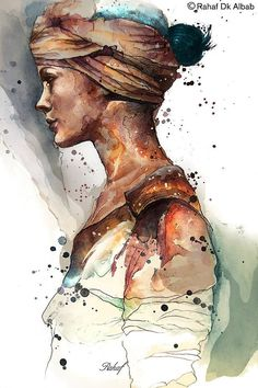 Portrait illustrations by Rahaf Dk Albab