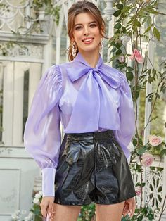 Check out this Tie Neck Balloon Sleeve Organza Blouse on Shein and explore more to meet your fashion needs! Satin Violet, Satin Bluse, Pencil Skirt Black, Pencil Skirts, Sleeves Designs For Dresses, Blouse And Skirt, Blouse Neck, Blouse Designs, Kurta Designs