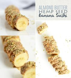 Almond Butter Hemp Seed Banana Sushi a delicious vegan snack packed with 10 grams of protein!