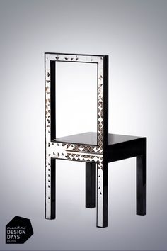 Chair by Shirin Ehya presented by @DesignDaysDubai exhibitor J+A Gallery Shirin used wood, mirror with gloss and lacquering to produce this chair.