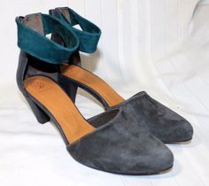 Coclico Gray Suede Ankle Strap Heels w/ Teal Ankle Strap 36 1/2 eur 6 us *NWOB* #Coclico #MaryJanes