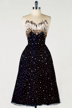 1950s Rudolf Black tulle Cocktail Dress with rhinestone/star studded bodice and skirt