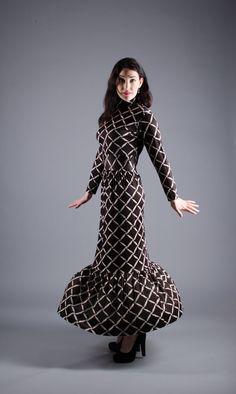 60s Maxi Dress  Vintage 1960s Geometric Print by concettascloset