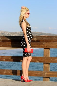 Outfit Ideas: Red with Polka Dots - The Fashionable Housewife Casual Work Outfits, Work Attire, Casual Dresses, Cool Outfits, Outfits Mujer, Dress Outfits, Red Heels Outfit, Red Shoes, White Fashion