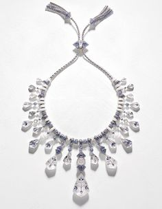 Inlaid rock crystal, sapphire, diamond and enamel necklace in Indian style, by Boucheron.