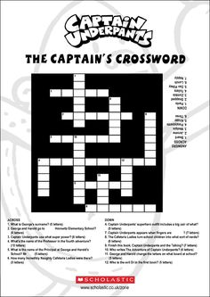 captin underpants maze | Captain Underpants Crossword