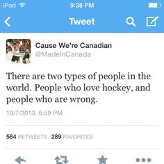 Two kinds of people. I am the one who likes hockey and is never wrong. And I'm from America.