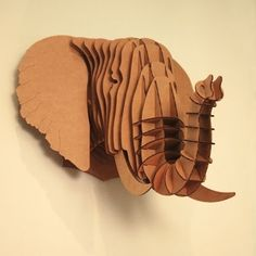 I pinned this Large Eyan Elephant Trophy Head in Brown from the Cardboard Safari event at Joss & Main! Can you believe this is cardboard? Cardboard Sculpture, Cardboard Furniture, Cardboard Crafts, Cardboard Boxes, Cardboard Chair, 3d Puzzel, Carton Diy, Cardboard Animals, Paper Animals
