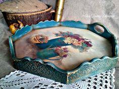 vintage serving tray shabby chic handmade by Adisa Lisovac Decoupage