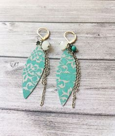 Boho chic earrings 215-1-28 - paper earrings - dangle and drop - clip on earrings - turquoise -glass beads - pendants -gift for her-silvery by carlaamaro on Etsy