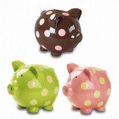 Pretty Polka Dots Porcelain Piggy Banks