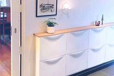 These IKEA built-in hack ideas will add tons of storage space to your home. The IKEA closet hack looks like a real built-in-closet, and you'd never guess the kitchen island is made of bookcases. Great storage ideas using IKEA hacks. Entryway Storage, Ikea Storage, Built In Storage, Storage Spaces, Storage Ideas, Shoe Storage, Ikea Entryway, Ikea Kallax Shelving, Ikea Bookcase