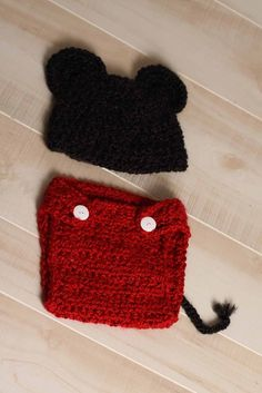 Mickey Mouse Diaper Cover and Hat