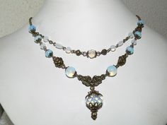 Opalite Vintage Style Antique Brass Statement Necklace - Opal Color #Handmade #Statement