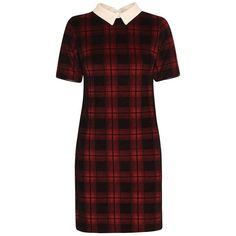 Short Sleeved Checked Peter Pan Collar Velvet Dress in Maroon (€6,58) ❤ liked on Polyvore featuring dresses, vestidos, red holiday party dress, short sleeve party dresses, party dresses, going out dresses and short sleeve dress