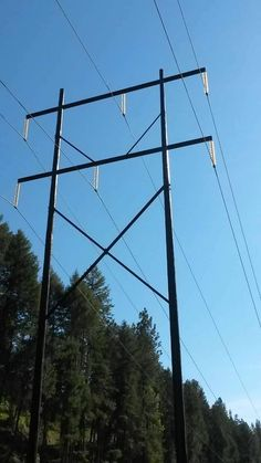 Transmission Tower, Electric Power, Utility Pole, Woods, Trees, Water, Frame, Transmission Line, Yarns