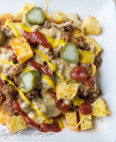 Low Carb Crock Pot Cheeseburger Chili- sugarfreemom.com