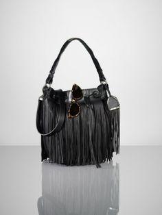 Leather Fringe Handbag | Ralph Lauren Leather Fringe Bucket Bag in Black - Lyst