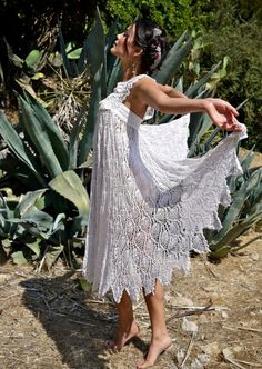 Prism of Threads Handmade Crochet Doily Dress XS