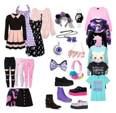 """Pastel Goth Outfits for School"" by macybuehner ❤ liked on Polyvore featuring Moschino, Hello Kitty, Converse, AG Adriano Goldschmied, Karl Lagerfeld and Penny Loves Kenny"