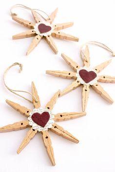 Clothespin Snowflake Ornaments!