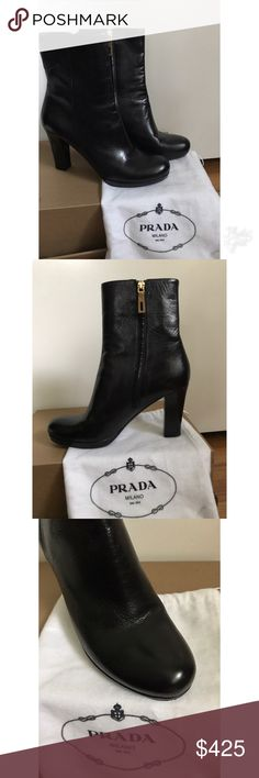 """Prada black leather boots, size 8 1/2, Excellent! These gorgeous boots from Prada could very well be your favorites this fall and winter season.  They're the ultimate, wear-with-almost-everything boot. Made of beautifully soft black leather with a 4"""" leather heel, they have a 7"""" shaft and side zipper in gold-tone.  Leather sole with non-slip rubber oval on the base.  These have been worn a couple of times & have a tiny bit of wear on sole (see photo). Uppers looks brand new. I'm a 5-star…"""