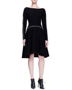 B2XSH Lanvin Contrast Pick-Stitched A-Line Dress