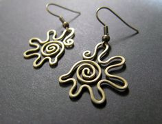 Cockleshell Wire Wrapped Brass Earrings by Hvitolg on Etsy, $9.50