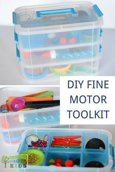 DIY Fine Motor Toolkit, perfect for home, classrooms, or therapy rooms. via /growhandsonkids/