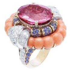 Summer Cocktail Ring by Van Cleef & Arpels - round diamonds, pink gold, coral, round mauve sapphires and one oval cut pink spinel of 21,19ct