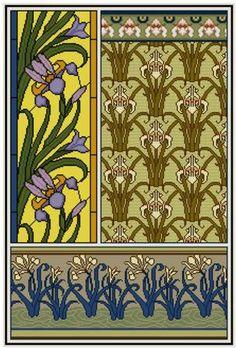 Iris Cross stitch pattern PDF Floral Botanical design door Whoopicat