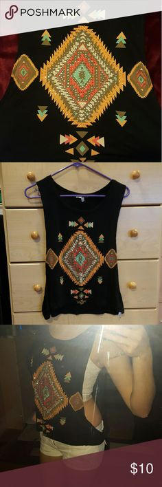 Drop-Arm Tribal Tank Top Black tribal drop arm tank top with jewels. Great condition, barely worn. Charlotte Russe Tops Tank Tops
