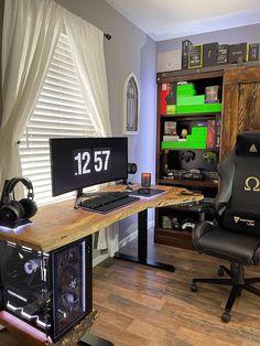 Its not IKEA but I like it. Pc Gaming Setup, Computer Setup, Pc Setup, Desk Setup, Custom Pc Desk, Workspace Inspiration, Live Edge Wood, Microsoft Surface, Ikea Hack