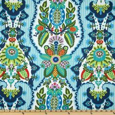 Amy Butler Cameo Harriet's Kitchen Sugar from @fabricdotcom  Designed by Amy Butler for Westminster Fabrics, this cotton print fabric is perfect for quilting, apparel and home décor accents. Colors include olive, turquoise, blue, charcoal, aqua, yellow, pink and flame on an ivory background.