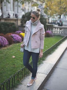 cropped pink coat cute fall outfit bmodish