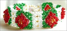 Holiday Bracelet by Barb A. Nichols. A project from Issue 32 (Nov/Dec 2010) Holiday Issue of Bead-Patterns the Magazine